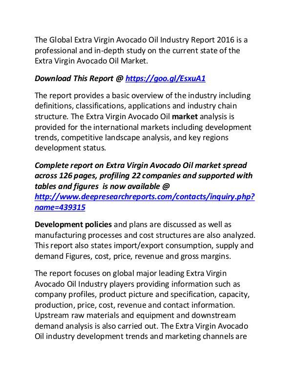 Extra Virgin Avocado Oil Industry Global Market Global Extra Virgin Avocado Oil Industry Report