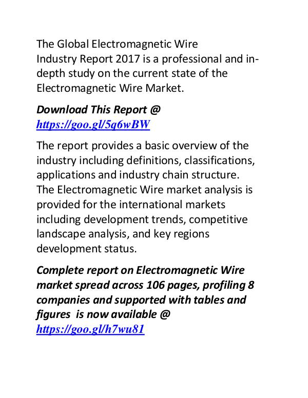 Electromagnetic Wire Industry 2017: Market  Manufacturers Forecast Electromagnetic Wire Industry Report