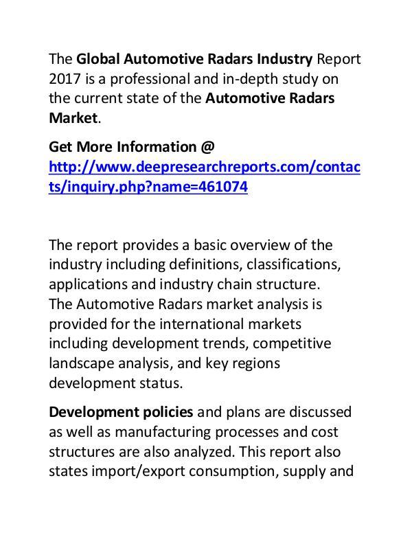 Automotive Radars Industry 2017-2022 Market Growth Automotive Radars Industry 2017-2022 Market Growth