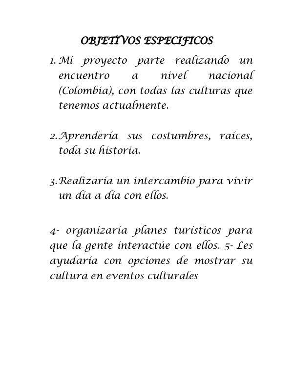 APOYANDO NUESTRAS CULTURAS OBJETIVOS ESPECIFICOS