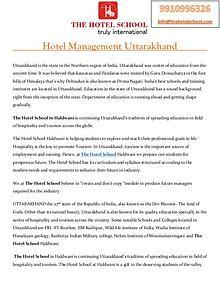 Hotel Management Uttarakhand - The Hotel School Haldwani