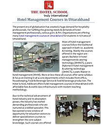 Hotel Management Course in Uttarakhand