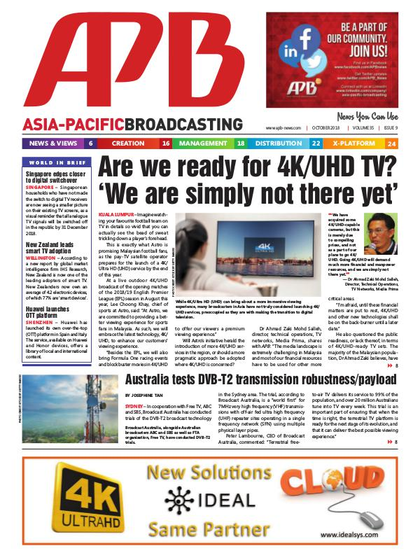 Asia-Pacific Broadcasting (APB) October 2018 Volume 35, Issue 9