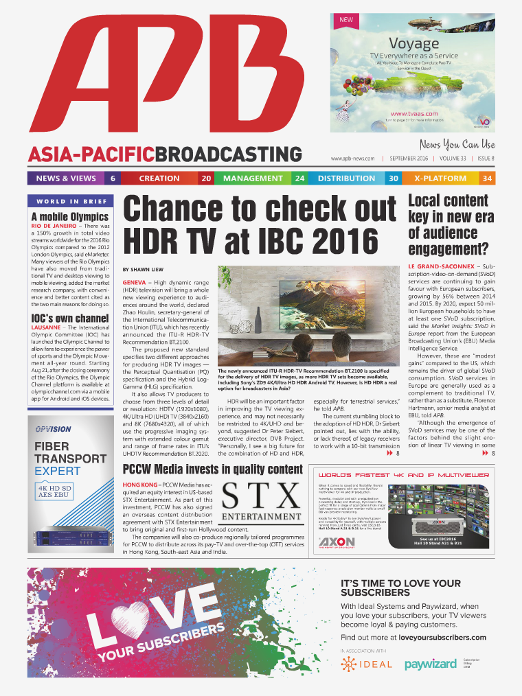 Asia-Pacific Broadcasting (APB) September 2016 • Volume 33, Issue 8