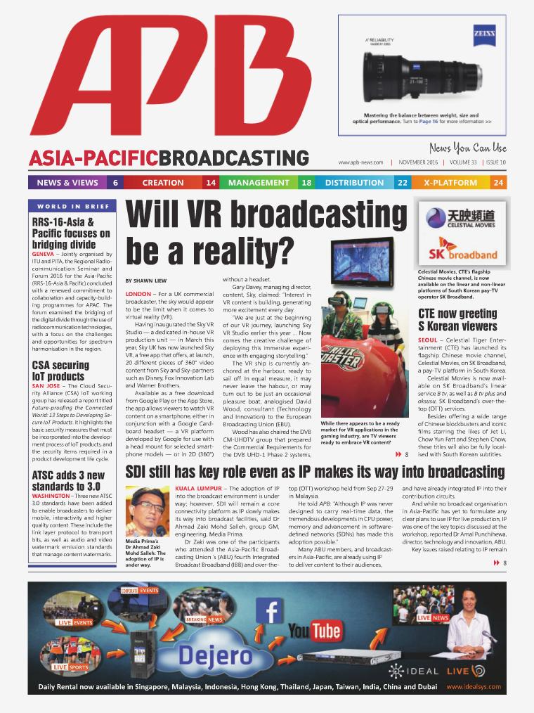 Asia-Pacific Broadcasting (APB) November 2016 Volume 33, Issue 10
