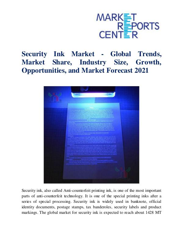 Market Research Reports Security Ink Market