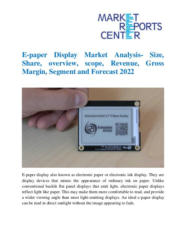 Market Research Reports E-paper Display Market