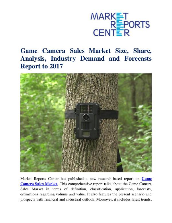 Market Research Reports Game Camera Sales Market