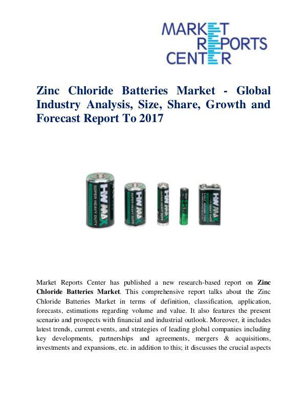 Zinc Chloride Batteries Market