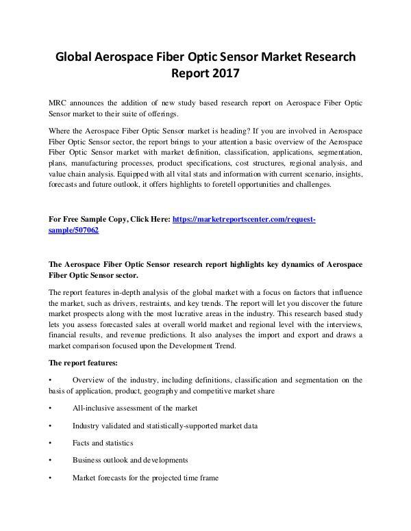 Market Reports Aerospace Fiber Optic Sensor