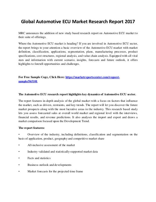 Market Reports Automotive ECU Market