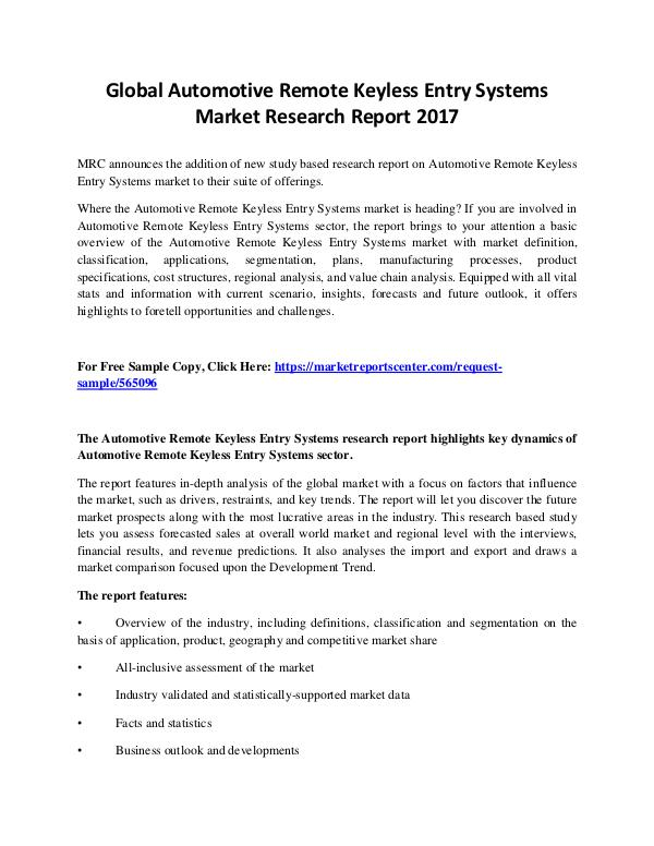 Market Reports Automotive Remote Keyless Entry Systems Market