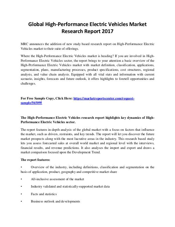 Market Reports High-Performance Electric Vehicles Market