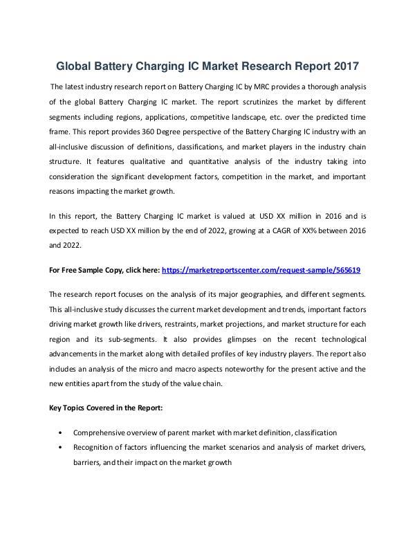 Market Reports Battery Charging IC Market