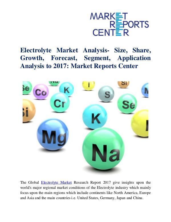 Electrolyte Market Analysis- Size, Share, Growth,