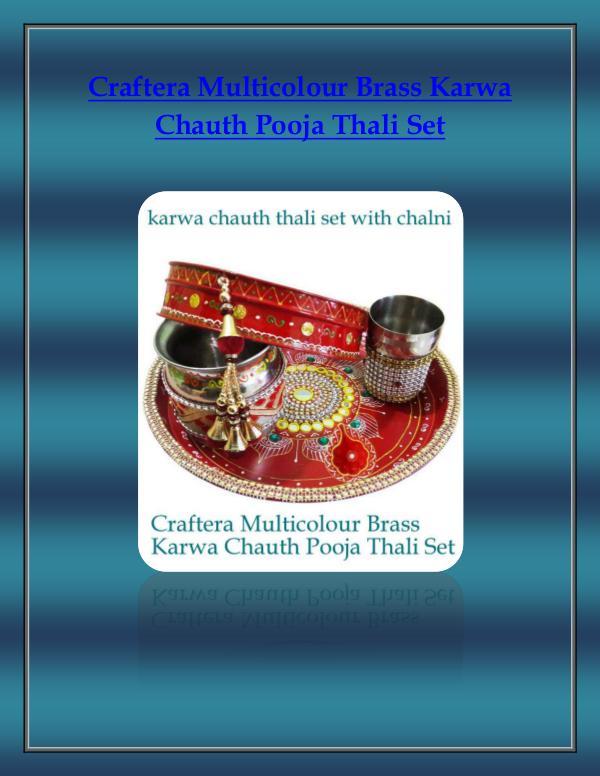 Craftera Multicolour Brass Karwa Chauth Pooja Thali Set Craftera Multicolour Brass Karwa Chauth Pooja Thal