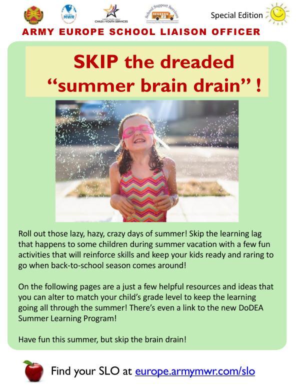 Summer Brain Drain- SLO newsletter 2020