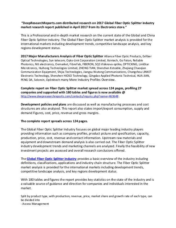 Global Fiber Optic Splitter Industry 2017 Market Research Report Fiber Optic Splitter Market
