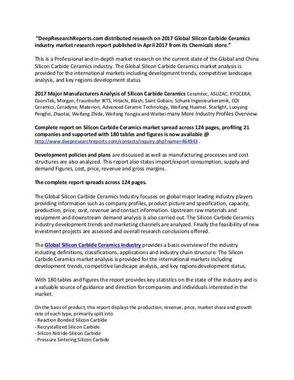 Global Silicon Carbide Ceramics Industry 2017 Market Research Report Global Silicon Carbide Ceramics Market