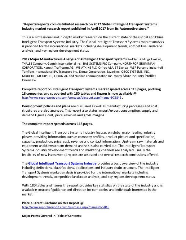 Global Intelligent Transport Systems Industry 2017 Market Research Re Global Intelligent Transport Systems Market