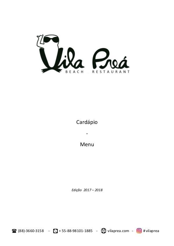 Vila Preá Restaurante: Menu - Cardapio 2017 / 2018