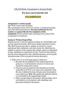 CIS 518 Seek Your Dream /uophelp.com