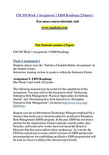CIS 558 Seek Your Dream /uophelp.com