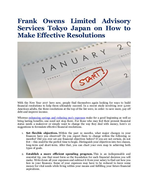 Frank Owens Limited Advisory Services Tokyo Japan How to Make Effective Resolutions