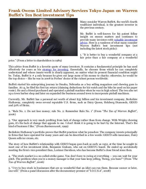 Frank Owens Limited Advisory Services Tokyo Japan Warren Buffet's Ten Best investment Tips
