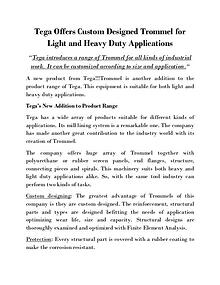 Tega Offers Custom Designed Trommel for Light and Heavy Duty Applicat