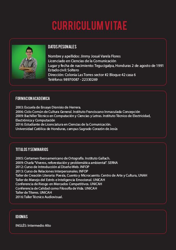 Curriculum Vitae Jinmy Josue Varela Flores Curriculum Vitae Jimmy Varela