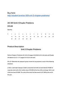 AC 309 Unit 2 Chapter Problems