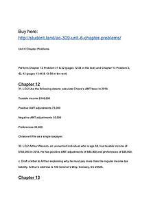 AC 309 Unit 6 Chapter Problems