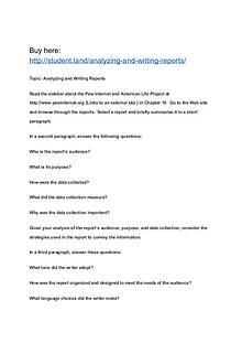 Analyzing and Writing Reports