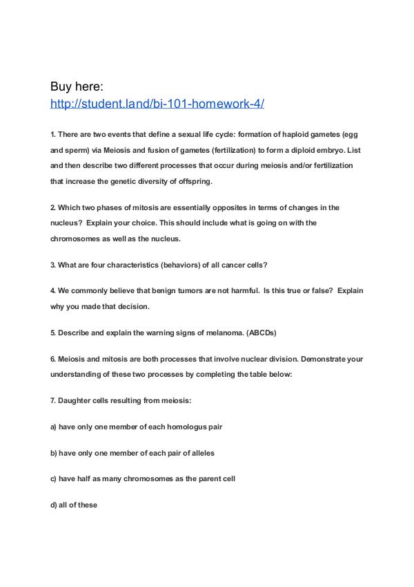 BI 101 Homework 4 Park University