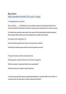 BI 101 Unit 1 Quiz