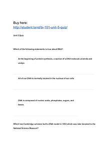 BI 101 Unit 5 Quiz