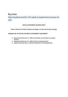 BI 101 Week 2 Experiment Answer Sheet