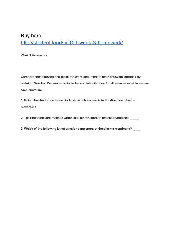 BI 101 Week 3 Homework Park University