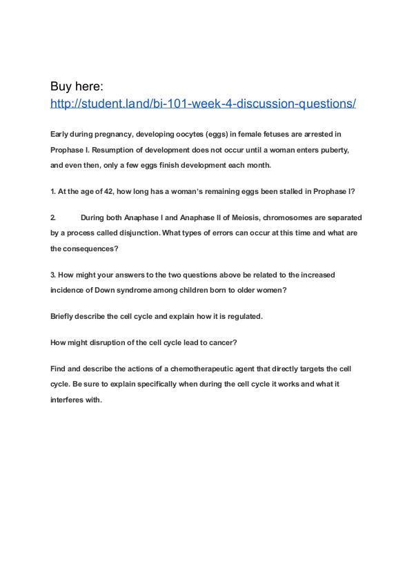 BI 101 Week 4 Discussion Questions Park University
