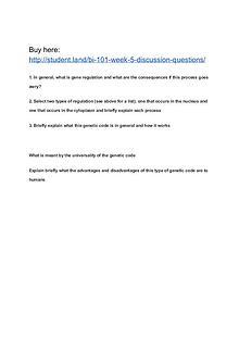 BI 101 Week 5 Discussion Questions