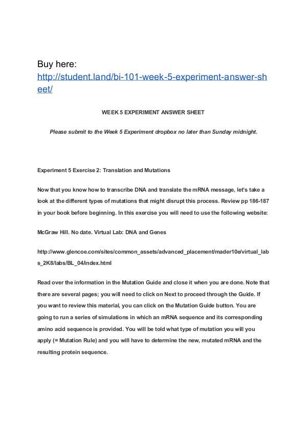 BI 101 Week 5 Experiment Answer Sheet Park University