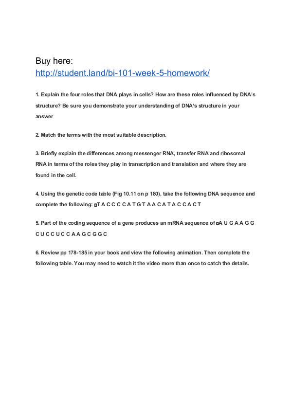 BI 101 Week 5 Homework Park University