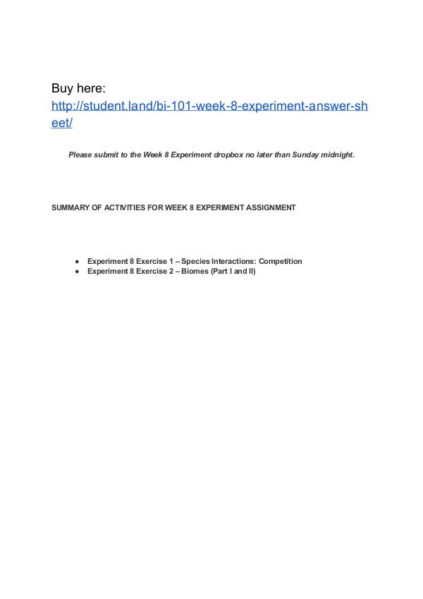 BI 101 Week 8 Experiment Answer Sheet Park University