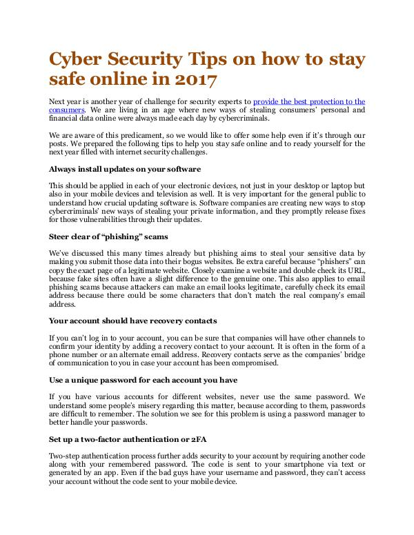 Online Info Blog Cyber Security Tips on how to stay safe online