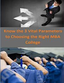 Know the 3 Vital Parameters to Choosing the Right MBA College