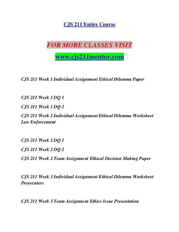 CJS 211 MENTOR Life of the Mind/cjs211mentor.com CJS 211 MENTOR Life of the Mind/cjs211mentor.com