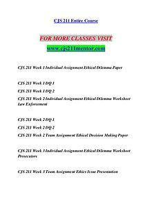 CJS 211 MENTOR Life of the Mind/cjs211mentor.com