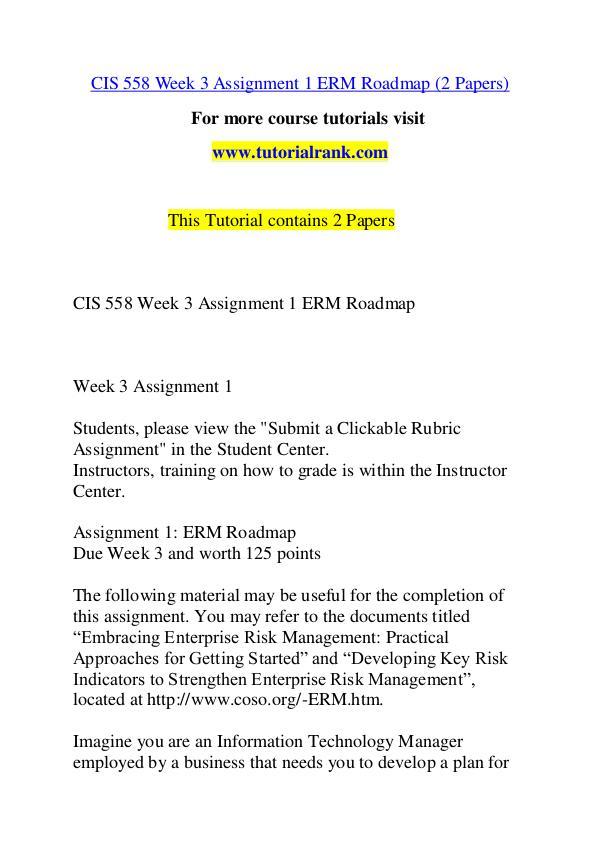 CIS 558 Course Great Wisdom / tutorialrank.com CIS 558 Course Great Wisdom / tutorialrank.com