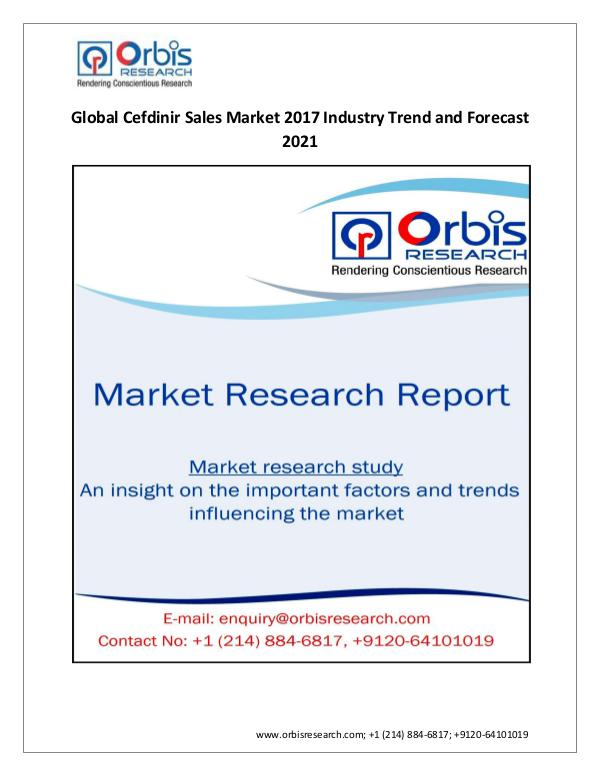 Latest Research: 2017-2022 Cefdinir Sales Market G